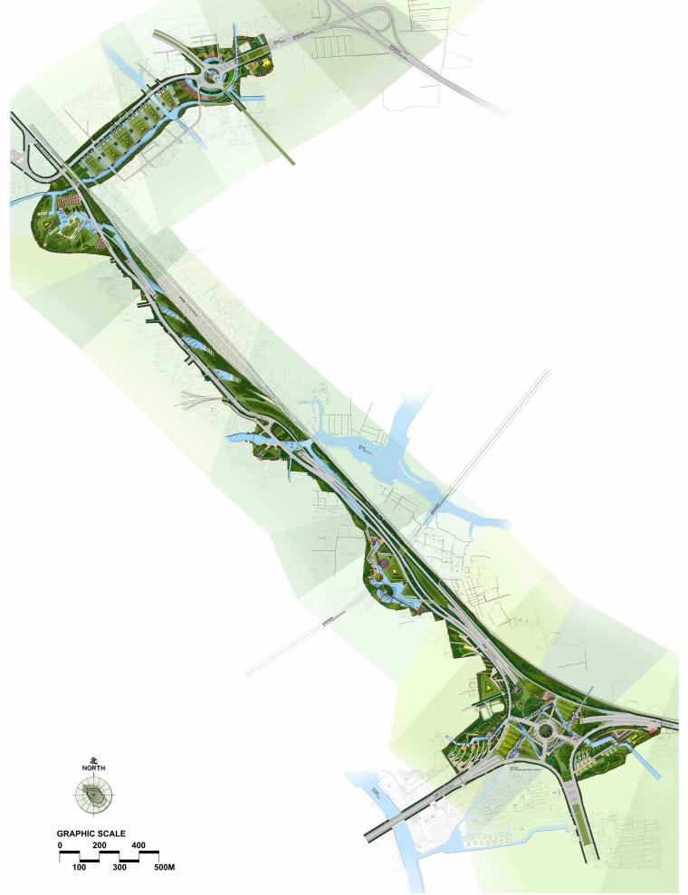 [江苏]苏州市沪宁高速公路西出入口景观规划方案设计(现代风格)-A总平面