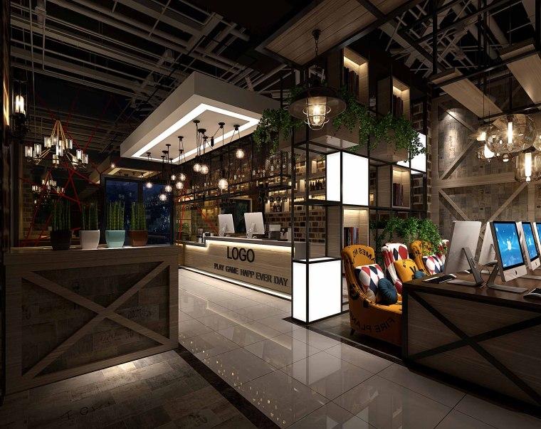 英伦风网吧网咖室内空间设计施工图(附效果图)-1