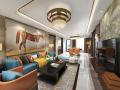 现代风格橙黄住宅客厅设计3D模型(附效果图)