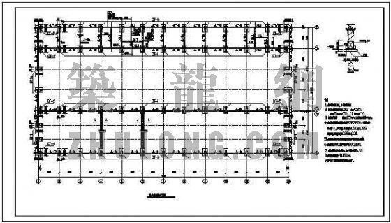砼柱轻钢屋面厂房结构图