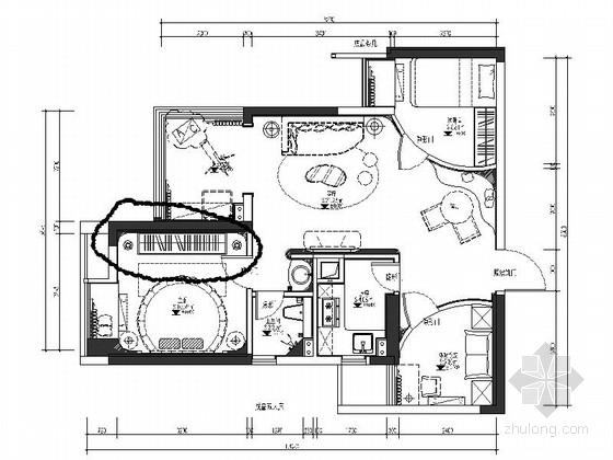 [湖北]现代时尚浪漫两居室室内设计施工图(含效果图)