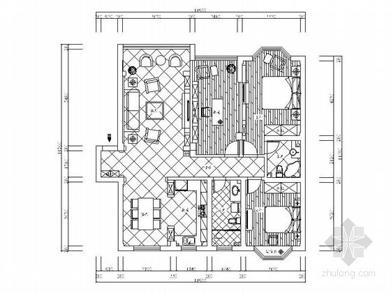地中海风格三居室样板房装修图(含效果)