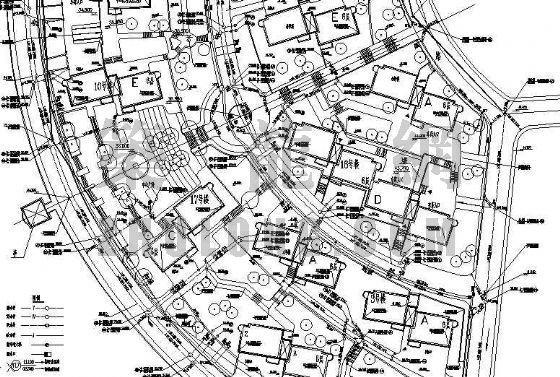 广东某公寓给排水管道施工总平面图