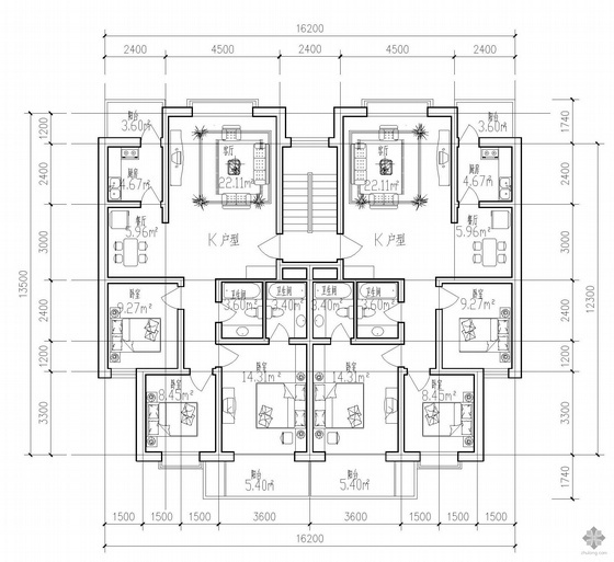 板式多层一梯两户K户型图(115/115)