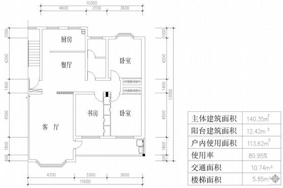 板式多层一梯二户户型图(140/140)