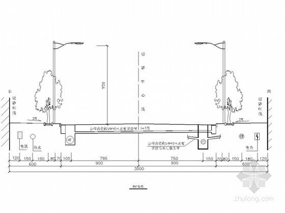 双向四车道市政道路横断面图CAD