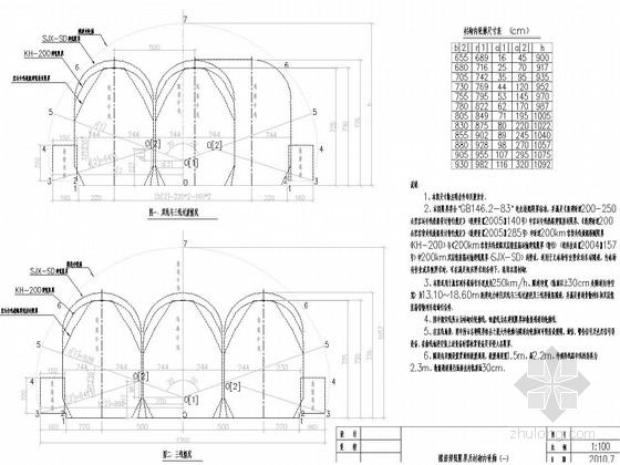 [云南]双线隧道复合式衬砌图纸71张含设计数据(有砟轨道 开行双层集装箱)