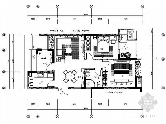 [浙江]88平现代两居室样板房全套施工设计施工图(含预算效果图软装方案 推荐!)