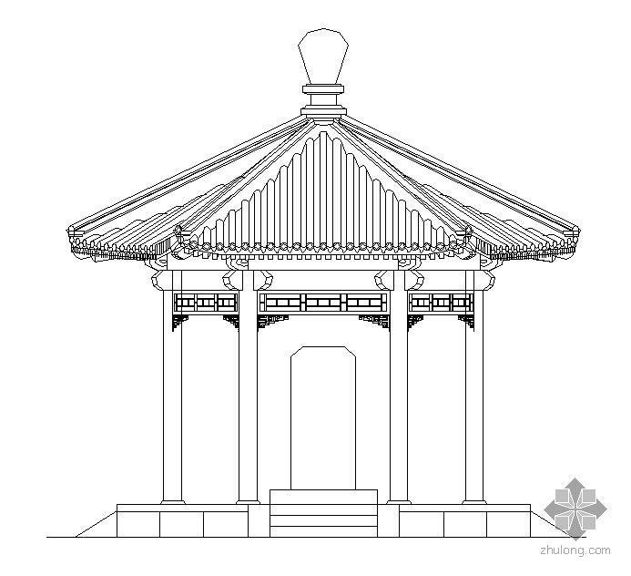 中式古典六角亭施工图