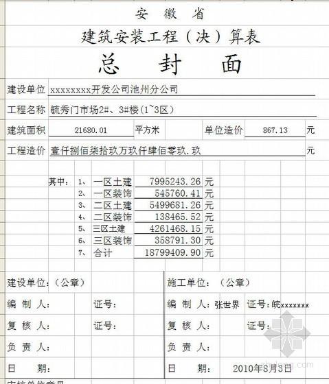 安徽某市场建筑装饰工程预算书(2010-08)