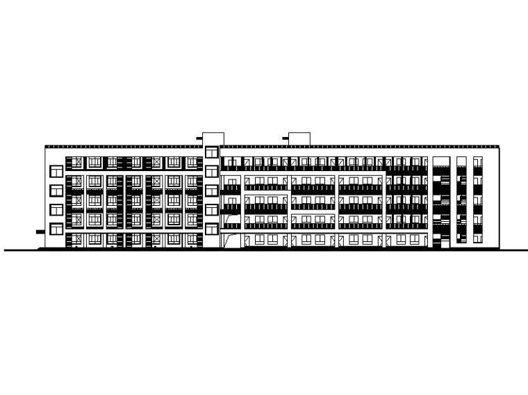 [浙江]五层长条形面砖外墙市级中学建筑施工图(含效果图)