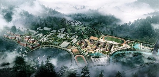 [广东]传统中式坡屋面绿瓦红墙市级中学扩建设计方案文本