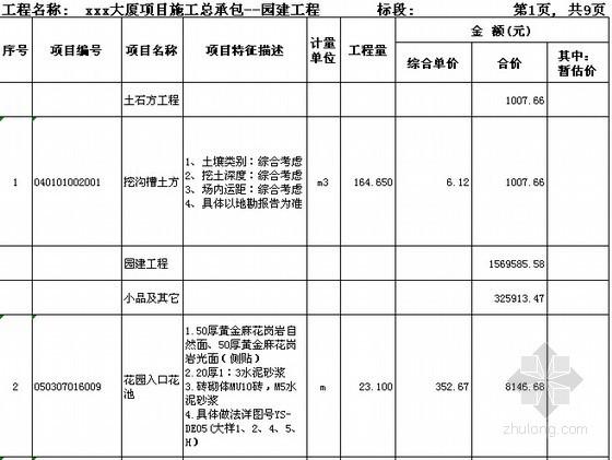 [广东]2015年大厦园建工程预算书