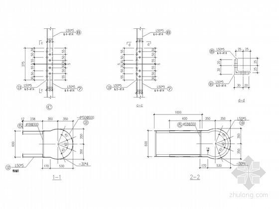 钢结构检修爬梯节点构造详图