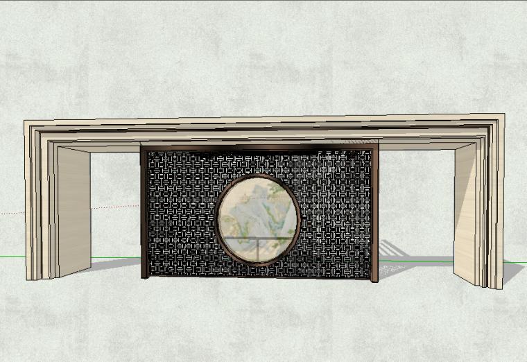 入口大门单体模型设计(新中式风格)
