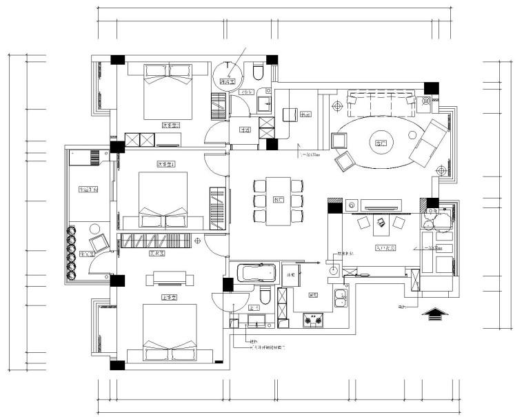 后现代风格住宅cad施工图设计(附效果图)