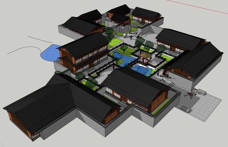 中式古建商业街建筑SU模型