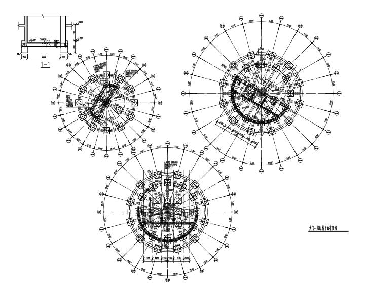 [湖南]展览馆核心筒结构大门结构施工图(三层桩基础,13张)
