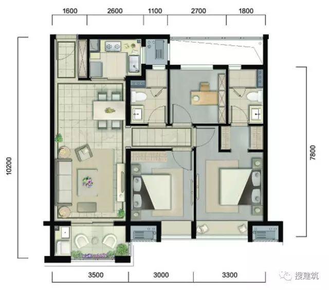 万科94㎡、104㎡、117㎡不同面积、一样的3房2厅2卫户型!_2