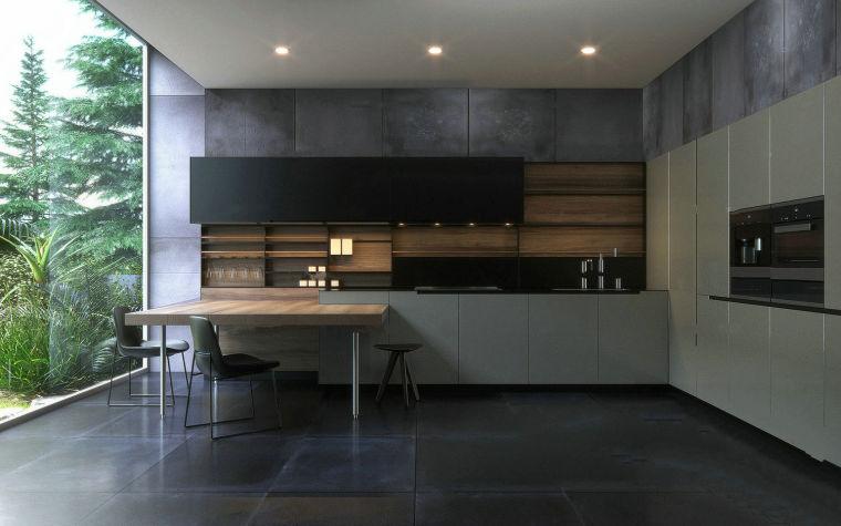 现代简约森林别墅厨房餐厅3D模型