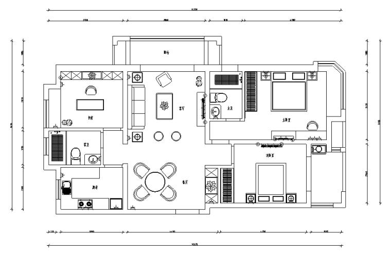 [江苏]美式风格A户型样板房设计施工图(附效果图)
