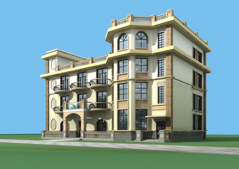 框架结构4层独栋别墅建筑方案设计(包含CAD)