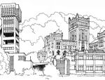 建筑钢笔线稿图