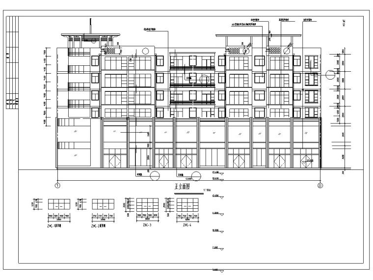 3套现代多层商住综合楼建筑设计施工图CAD