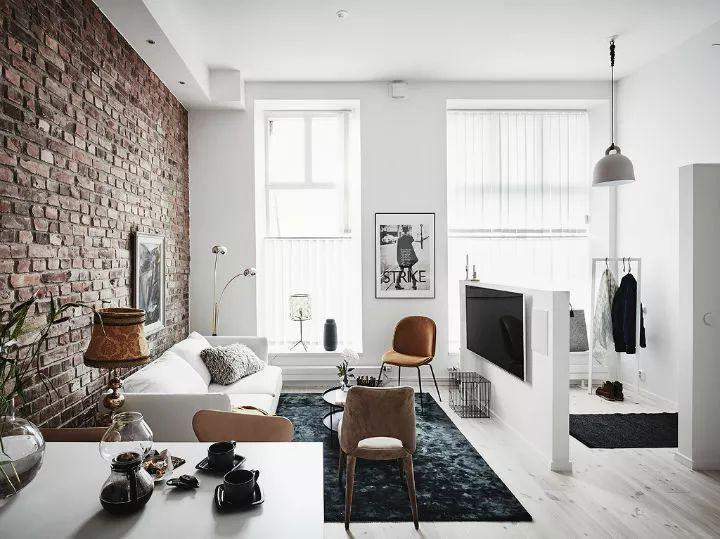 白+黑+砖色 比初恋还美的北欧LOFT风
