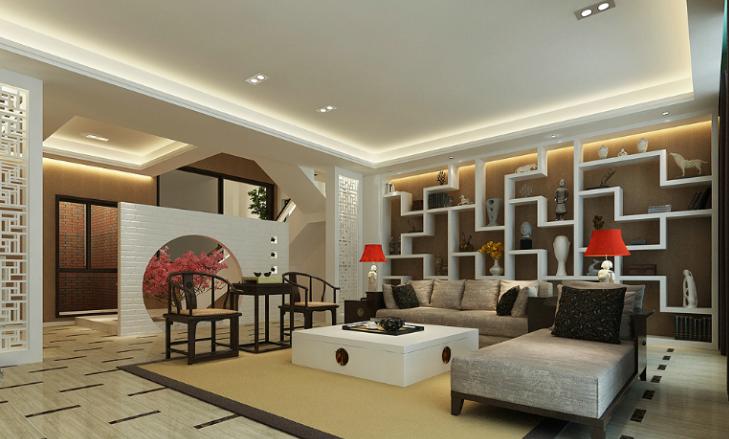 某中式风格联排别墅室内装修设计施工图及效果图-客厅效果图