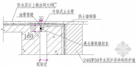 顶板和挡土墙变形缝大样节点详图