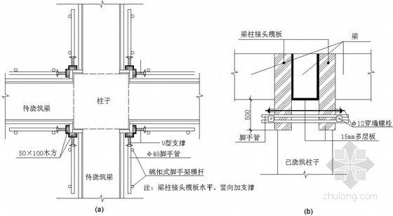 住宅楼梁柱接头模板处理大样图