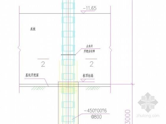 逆作法基坑850灌注桩内插500x500钢格构柱结构图