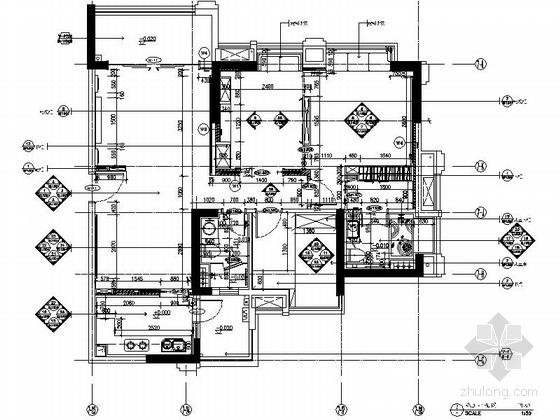 [广东]三居室样板房室内装修设计CAD施工图(含效果)