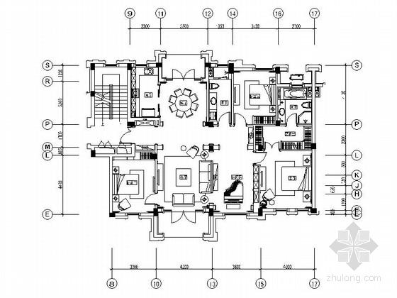 [上海]现代简欧三居室样板房E户型装修施工图