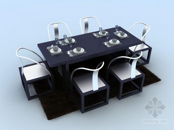 新中式餐桌椅3D模型下載