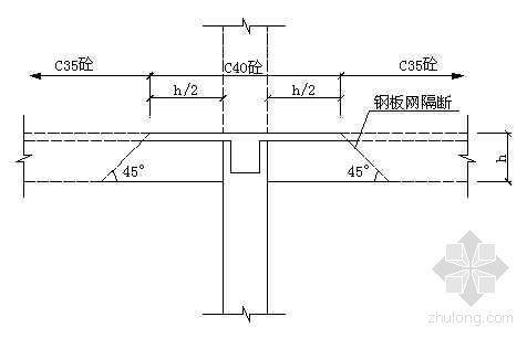 梁柱节点不同强度等级混凝土浇筑示意图
