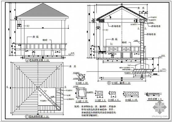 某廊亭建筑结构设计施工图