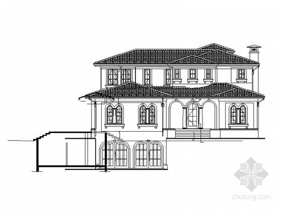 [广州]某二层欧式风格独栋别墅建筑施工图(含效果图)