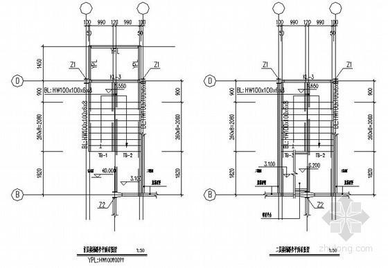 型钢梁混凝土楼梯节点构造详图