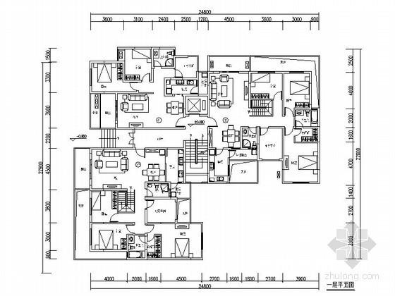 某一梯三拐角户型平面图(适合多层、小高层)