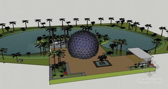 水系建筑景观规划SketchUp模型下载