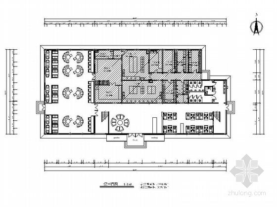 [哈尔滨]简约欧式风格餐饮空间CAD施工图(含效果图)