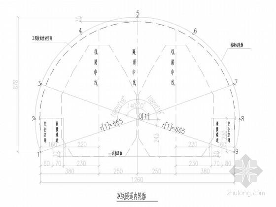 双线隧道复合式衬砌图纸85张(时速350公里 I~V级围岩)