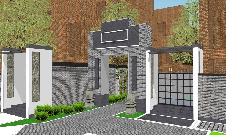 中式巷子景观SU模型——巷子出入口