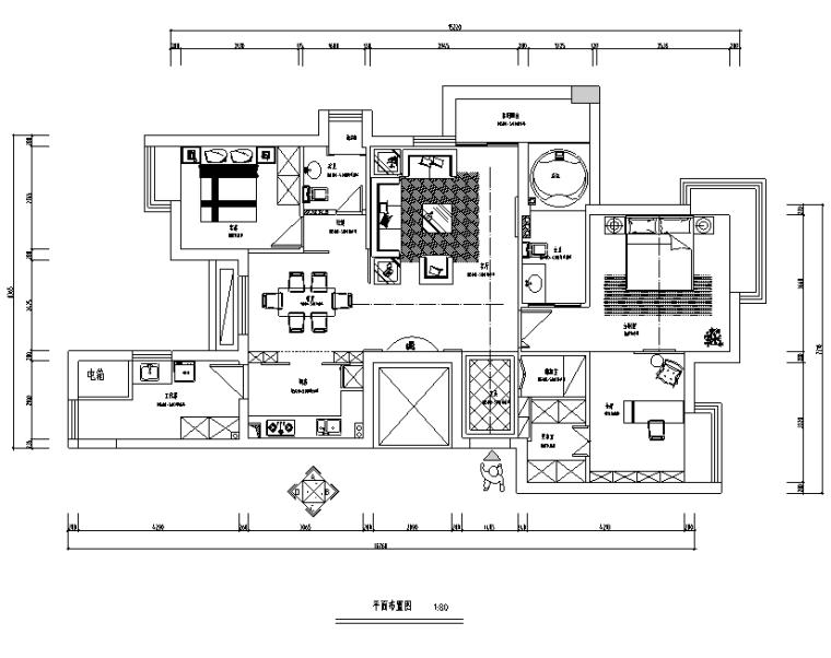 欧式古典家装效果图资料下载-银都花园家装设计完整施工图(附效果图)