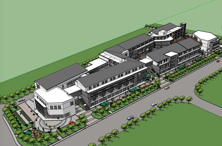 邻里中心-简中式商业街建筑SU模型
