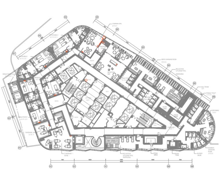 [陕西]君悦特色酒店公区设计施工图+效果图-5六层平面布置图