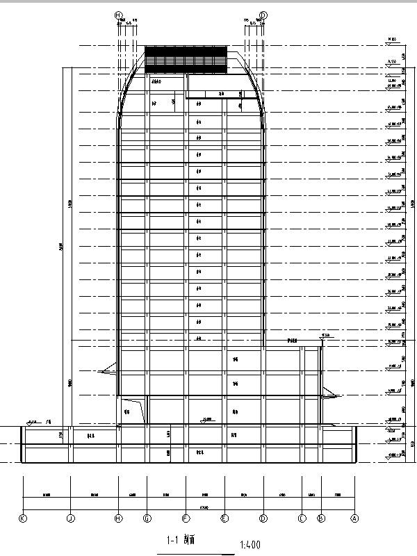 5套商务办公楼建筑设计施工图CAD-现代高层办公楼建筑设计立面图