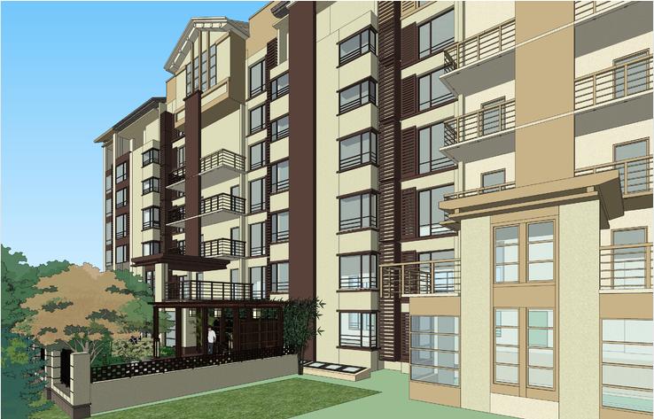 日式枯山水庭院景观与多层住宅建筑方案SU模型